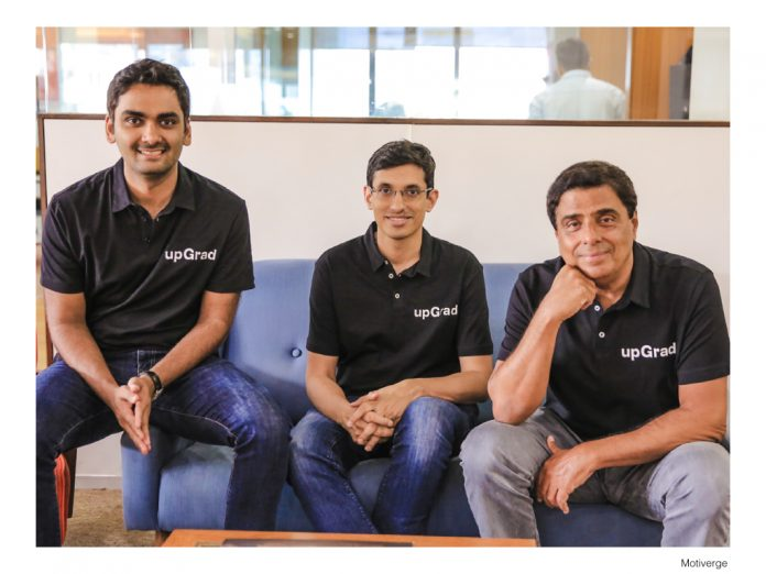 (L-R) Phalgun Kompalli Co-founder, Mayank Kumar Co-founder & MD, and Ronnie Screwvala Executive Chairman & Co-founder, upGrad