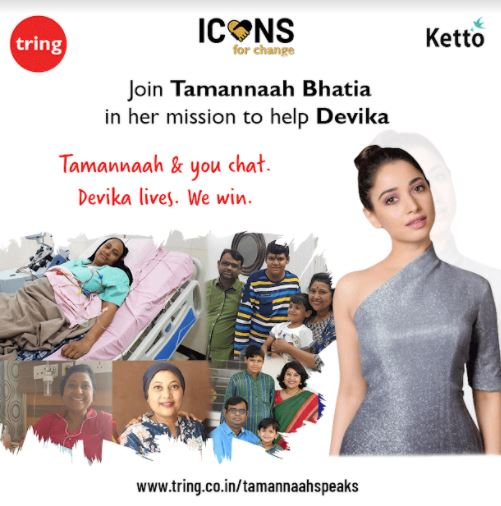 Actress Tamannaah's Pledge to Help Devika #FightAgainstCancer with Tring