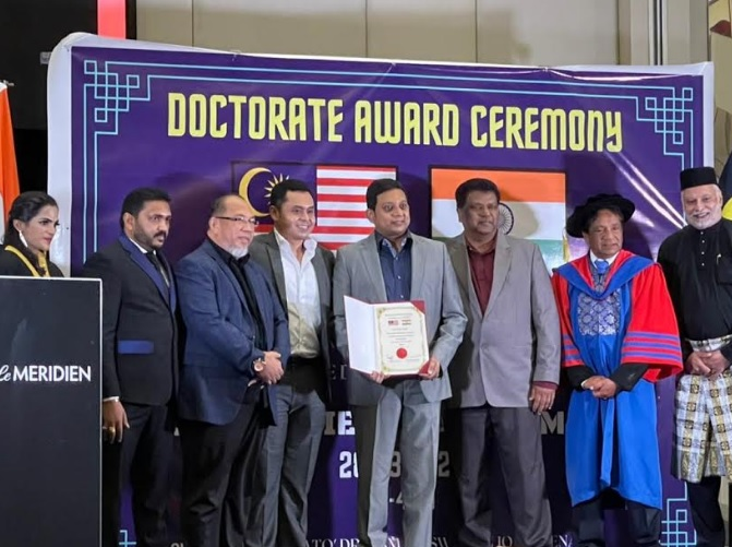 Dr. Sailesh Hiranandani from SRAM & MRAM Honored with the Doctorate by the Prestigious Malaysia South India Chamber of Commerce Held in Malaysia